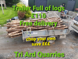Logs fire wood trailer load £110