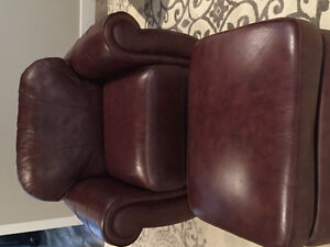 Cognac Leather Club Chair and Ottoman