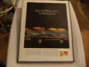 OLD FORD TORINO CLASSIC CAR FRAMED ADS Windsor Region Ontario image 2