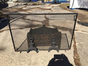 Vintage Fireplace Grate, Screen and Andirons
