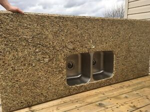 Granite slab and stainless sink