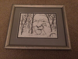"""Framed 8x10"""" Pencil Drawing and Ceramic Mothers Prayer"""