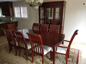 Dining Room Setup with Table, 8 Chairs & China Display Cabinet