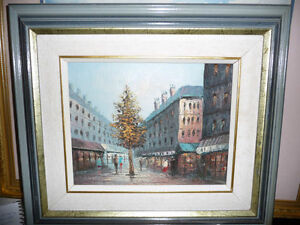 "Henry Rogers ""Paris Street, Evening"" Original Oil Painting"