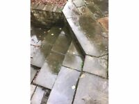 Reclaimed mixed paving slabs, good condition.