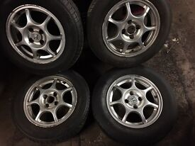 "Honda 14"" alloy wheels with good tyres"