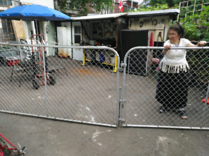 2 metal gates with locks and hinges