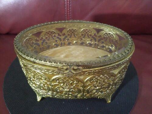 Vintage Ornate 4 Footed Brass Oval Trinket Jewelry Box w/Beveled Glass Top