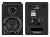 Boxed Pair of Mackie MR5 Production Audio Speakers with Samson Stands