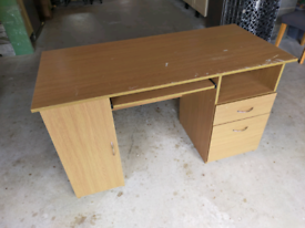 Wooden desk with cupboard & drawers