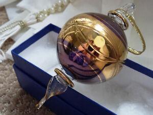 EGYPTIAN hand blown PURPLE GLASS Christmas Ornament 24K GOLD+box