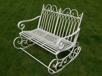 Victorian Style Metal Garden Rocking Chair Bench In A Shabby Chic Antique Cream