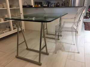 Glass desk with trestle frame and Louis XIV chair