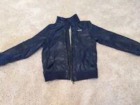 Navy Blue coat faux Leather kids size 9-10