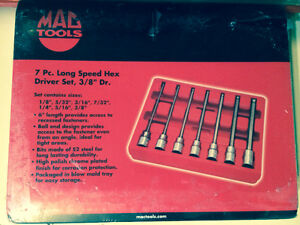 "7 PC. 3/8"" drive SAE Long Speed Hex Driver Set Mac Tools - new"