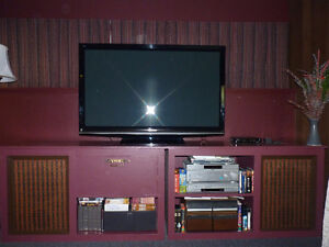 TV stand and shelves with speakers