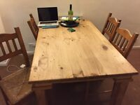 Mexican wooden table and chairs