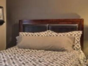 Wood and leather headboard. London Ontario image 2