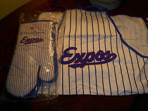 Never Used Montreal Expos BBQ Apron/Oven Mitts/Autographs