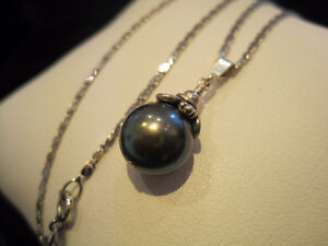 GREY PEARL PENDANT WITH SILVER/GOLD VERMIER SPARKLING CHAIN