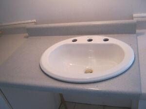 Comptoir +  lavabo porcelaine