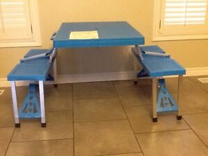 Fold up table and bench  at Christmas for children table