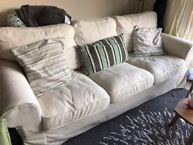 Three-seat sofa EKTORP Nordvalla dark beige