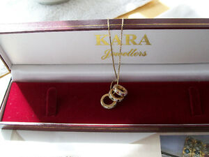 """SAPPHIRE / RUBY / EMERALD / RINGLET NECKLACE 18"""" BOX LINK CHAIN"""