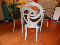 Dining/Dinette Glass Table with 4 unique Swirl Chairs