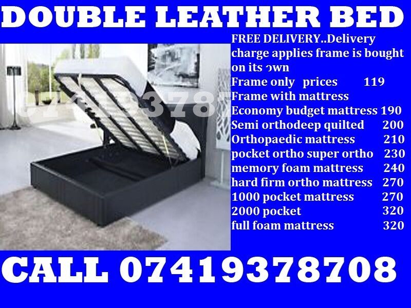 single leather Basedoublekingsize also available Beddingin Romford, LondonGumtree - ESPECIAL EASTER SALE.~.~.Available at Half of the Orignal Price.~.~. We Deal in all sizes of Divan ,Leather Beds.~.~.Other Furnitures sofabeds, wardrobe, sofa available also.~.~.Brand New Delivery Same day Contact Us