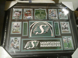 New Sask Roughrider Three Time Champ History Framed Picture