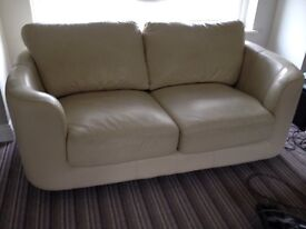 2 seater sofa - leather ivory