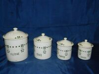 4 kitchen cannisters with french art deco design