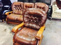 Brown leather 3 and 1 sofa set
