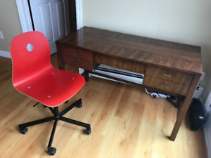 Desk with Swivel Chair and Filing Cabinet