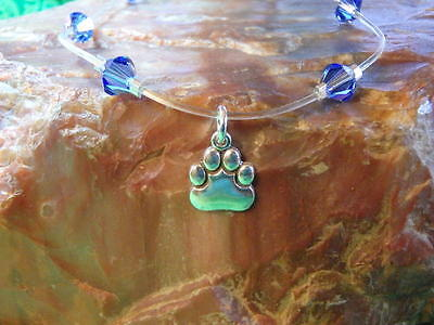 STERLING Silver DOG * CAT PAW Illusion Anklet made with Swarovski Elements BLUE