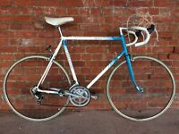 VINTAGE RALEIGH ESPRIT ROAD RACING BIKE IDEAL STUDENT COMMUTER BICYCLE BLUE AND WHITE RETRO