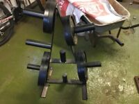 "Cast iron Olympic 2"" weights and stand"
