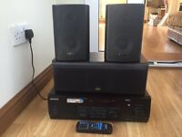 KENWOOD PRO LOGIC SURROUND SOUND AMP AMPLIFIER DECK KRF-V5030D 6CH 80w x 5 with 3 Speakers