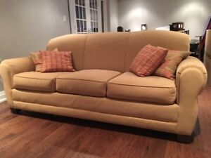Rowe Sofa, Ottoman and Chair in Suede Fabric (all 3 pieces)