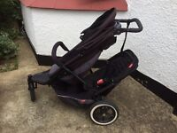 Phil and Teds Explorer double buggy with raincovers and car seat adapter