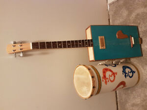 Cigar box guitar w/ drum