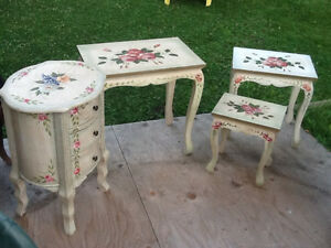 Set of 4 nesting tables  & accent round tower with DRAWERS REDUC Kingston Kingston Area image 1
