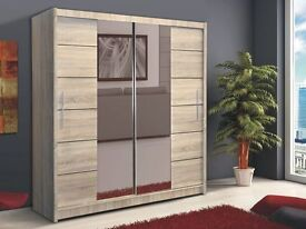 **7-DAY MONEY BACK GUARANTEE!**- Hamburg Platinum Oak Sliding Door Wardrobe - SAME DAY DELIVERY!