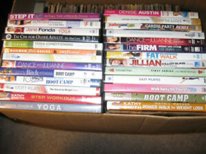Tons of Fitness/Workout/Health/Yoga/Pilates dvds-$5 or less