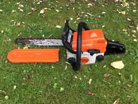 Stihl MS180 chainsaw cutting tree surgeon garden DIY