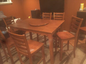 Pub style tables with 7 chairs and an extra table!