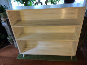 Tall Solid Wood Mid-Century Bookcase - Antique Finished