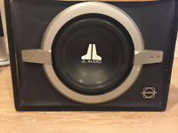 10INCH JL SUB IN BRASSWORK BOX WITH 470W CLARION AMP