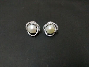White Pearl and Swarovski Diamond Earrings **Mother's Day Sale**